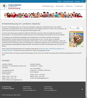 Screenshot Homepage Kinderbetreuung